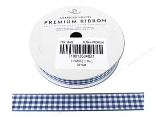 "American Crafts Ribbon Gingham 1/2"" Denim 3yd"