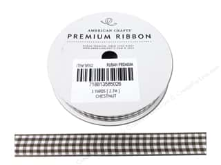 "American Crafts Ribbon Gingham 1/2"" Chestnut 3yd"