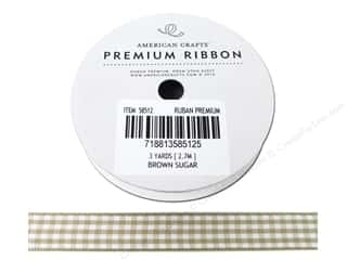 American Crafts Gingham Ribbon 1/2 in Brown Sugar White
