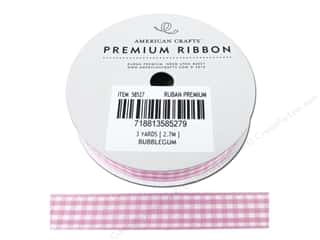 "American Crafts Ribbon Gingham 1/2"" Bubblegum 3yd"