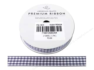 American Crafts Gingham Ribbon 1/2 in. x 3 yd. Plum & White