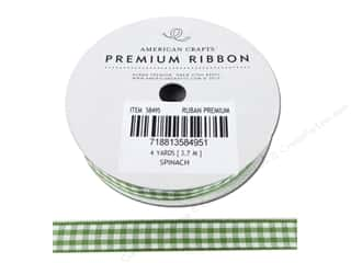 Ribbons 3 Yards: American Crafts Gingham Ribbon 3/8 in. x 4 yd. Spinach & White