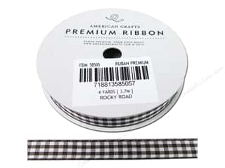 American Crafts Gingham Ribbon 3/8 in. x 4 yd. Rocky Road & White