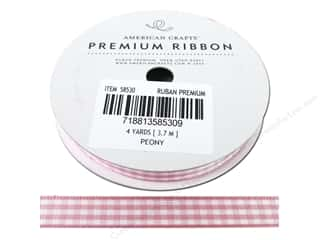 American Crafts Gingham Ribbon 3/8 in. x 4 yd. Peony & White