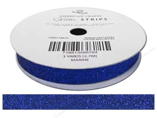 "American Crafts Ribbon Glitter 3/8"" Solid Marine 3yd"