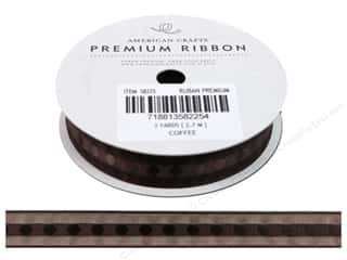 "American Crafts Ribbon Sheer Satin Edg  5/8"" Coffe"