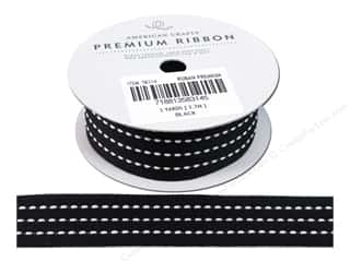 "American Crafts Ribbon Grosgrain Stitched 1"" Black"