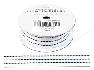 Polyester Ribbon / Synthetic Blend Ribbon: American Crafts Ribbon Grosgrain Stitched 1&quot; White