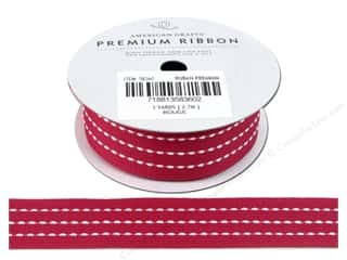 "American Crafts Ribbon Grosgrain Stitched 1"" Rouge"