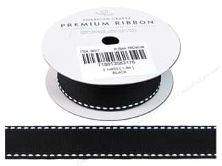 "American Crafts Ribbon Grosgrain Saddle Stitch 1"" Black 2yd"