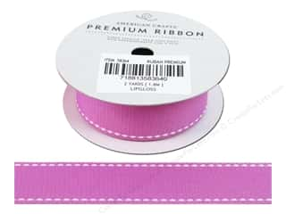 "American Crafts Ribbon Grosgrain Saddle Stitch 1"" Lipgloss 2yd"