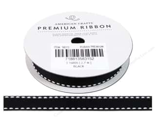 "American Crafts Ribbon Grosgrain Saddle Stitch 1/2"" Black 3yd"
