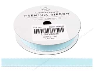 Ribbon Work Ribbons / Fabrics / Threads / Cords: American Crafts Grosgrain Ribbon with Saddle Stitch 1/2 in. x 3 yd. Lagoon