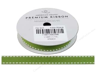 Craft Embellishments 2 Yards: American Crafts Grosgrain Ribbon with Saddle Stitch 1/2 in. x 3 yd. Spinach