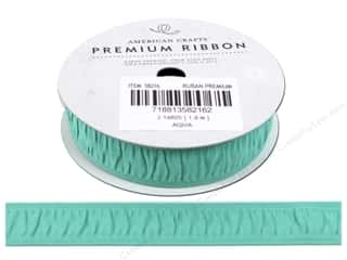 "American Crafts Ribbon Grosgrain Gath 3/4"" Aqua"