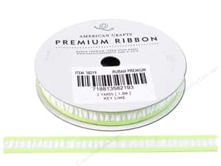"American Crafts Ribbon Grosgrain Gath 3/8"" KeyLime"