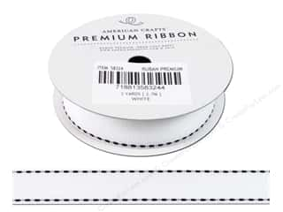 "American Crafts Ribbon Grosgrain Saddle Stitch 3/4"" White 3yd"