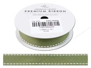 Ribbon Work Clearance: American Crafts Grosgrain Ribbon with Saddle Stitch 3/4 in. x 3 yd. Olive