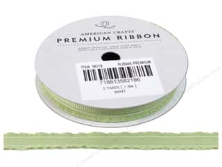"American Crafts Ribbon Grosgrain Ruffle Edge 3/8"" Mint 2yd"