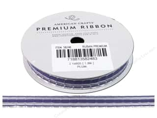 "American Crafts Ribbon Grosgrain Stitch 3/8"" Plum"