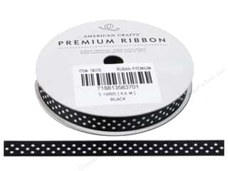 "American Crafts Ribbon Grosgrain Dots 3/8"" Black 5yd"