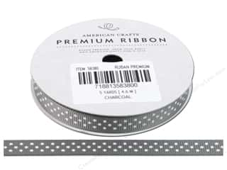 "American Crafts Ribbon Grosgrain Dots 3/8"" Charcoal 5yd"