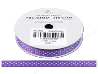 "American Crafts Ribbon Grosgrain Dots 3/8"" Grape 5yd"