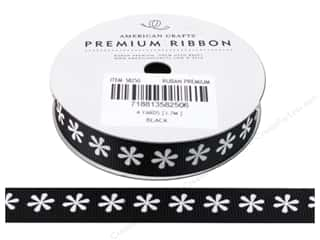 "American Crafts Ribbon Grosgrain Flowers 5/8"" Black 4yd"