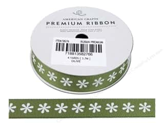 American Crafts Grosgrain Ribbon with Flowers 5/8 in. x 4 yd. Olive