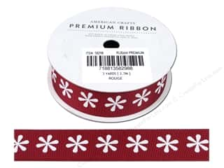Cording Flowers: American Crafts Grosgrain Ribbon with Flowers 7/8 in. x 3 yd. Rouge