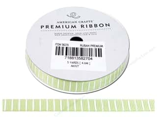 "American Crafts Ribbon Grosgrain Lines 3/8"" Mint 5yd"