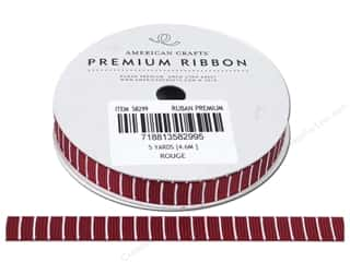 Polyester Ribbon / Synthetic Blend Ribbon: American Crafts Ribbon Grosgrain Lines 3/8&quot; Rouge