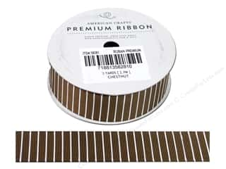 "American Crafts Ribbon Grosgrain Lines 7/8"" Chestnut 3yd"