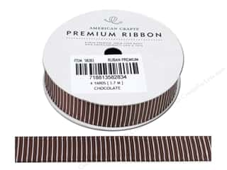 Blend Black: American Crafts Grosgrain Ribbon with Pinstripes 5/8 in. x 4 yd. Chocolate
