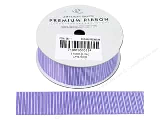 "American Crafts Ribbon Grosgrain Pinstripes 7/8"" Lavender 3yd"