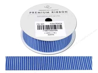 "American Crafts Ribbon Grosgrain Pinstripes 7/8"" Marine 3yd"