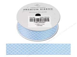 American Crafts Grosgrain Ribbon 7/8 in. Plaid Lagoon