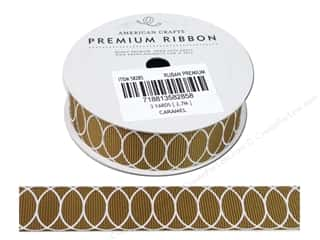 American Crafts Grosgrain Ribbon with Circles 7/8 in. x 3 yd. Caramel