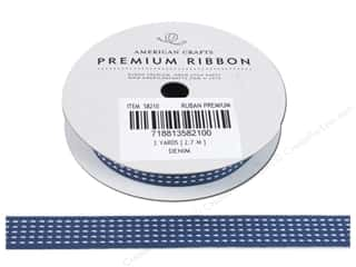 "American Crafts Ribbon Grosgrain Stitch 1/2"" Denim"