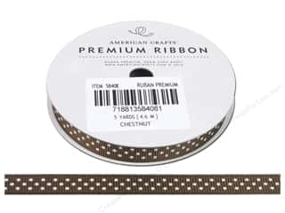 "American Crafts Ribbon Grosgrain Dots 3/8"" Chestnut 5yd"