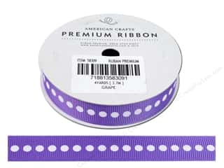 "American Crafts Ribbon Grosgrain Dots 5/8"" Grape 4yd"