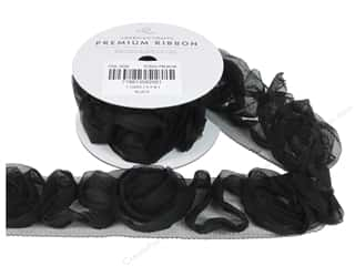 Tulle Black: American Crafts Tulle Ribbon Chiffon Rosette 1 1/2 in. x 1 yd. Black