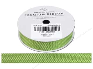Threads Clearance Crafts: American Crafts Grosgrain Ribbon with Stars 5/8 in. x 4 yd. Spinach