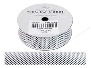 Polyester Ribbon / Synthetic Blend Ribbon: American Crafts Ribbon Grosgrain Stars 7/8&quot; White