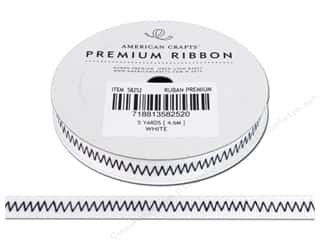 American Crafts Ribbon Grosgrain Zig Zags 3/8&quot; Wht