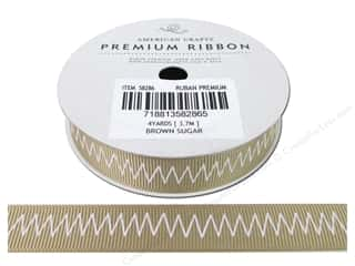 American Crafts Ribbon Grosgrain Zig 5/8&quot; Brn Sug