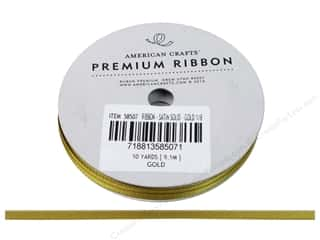 American Crafts Ribbon Satin 1/8&quot; Gold 10yd