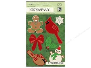 Felting Burgundy: K&Company Stickers Tim Coffey Christmas Felt