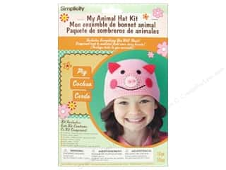 crochet button: Simplicity My Animal Hat Kit Pig