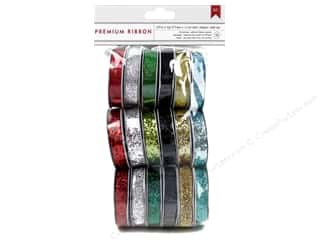 American Crafts Ribbon and Fiber Embellishments: American Crafts Ribbon Value Pack 18 pc. Glitter Christmas